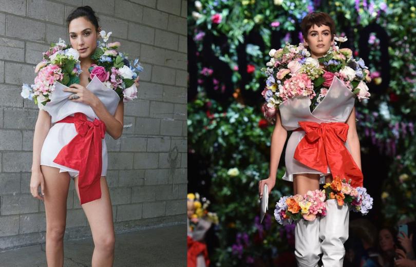 """Битва нарядов: Галь Гадот против Кайи Гербер в """"цветочном"""" платье от Moschino"""