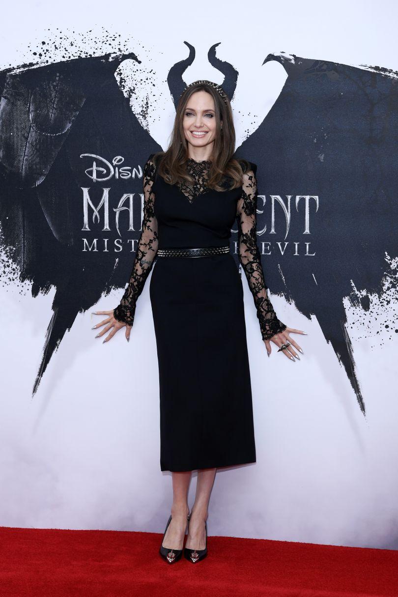 Angelina Jolie in black lace dress